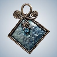 Light Blue Rhinestone with Baby Blue Square and Silver-Tone Backing Charm Pendant