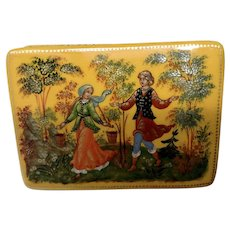 Russian Lacquer Yellow Trinket Box Nanex Hand Painted Signed by Artist Cynoe Ba Made in USSR