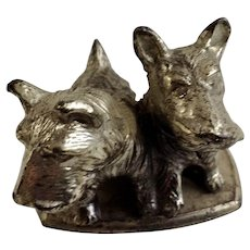 Circa 1930's Scottie Dogs Metal Paperweight Figurine Japan
