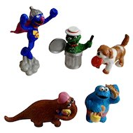 1980's Oscar the Grouch, Grover, Mr. Snuffleupagus, Cookie Monster, Barkley Character Sesame Street Figurines Muppets Inc Applause TM CTW Tara Toy Corp