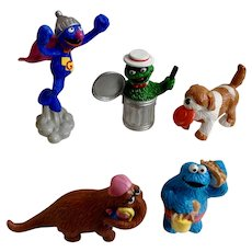 1980's Muppets Sesame Street Figurines Oscar, Grover, Snuffleupagus, Cookie Monster, Barkley Character