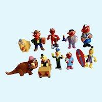1980's Bert, Ernie, Elmos, Mr. Snuffleupagus, Snuffy Character Sesame Street Figurines Muppets