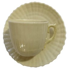 Belleek Ireland #0857 Flat Demitasse Cup & Saucer Set Scalloped Shell Cream and Yellow