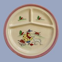 Children's Divided Grill Plate with Lady and Dog Japan