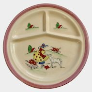 Vintage Baby or Child Divided Plate with Lady and Dog Japan