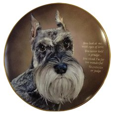 Miniature Schnauzer Dog Plate Cherished Eyes of Love Danbury Mint Collectors Number B5918