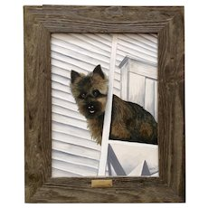 Patricia Mitchell, Kyle Our Kansas Norwich Terrier Dog Oil Painting on Wood Plank Signed by Artist