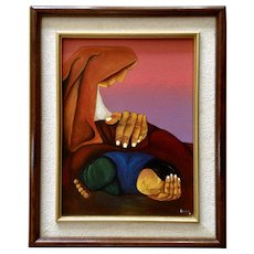 Pilaluisa, Indian Mother with Child Modern Native American Oil Painting on Canvas Signed By Artist
