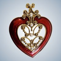Red Enamel Heart Pendant with Faux Pearls and Gold-Tone Filigree