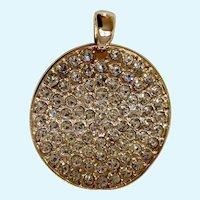 Beautiful Faux Diamond Sparkle Rhinestone Encrusted Gold-Tone Pendant