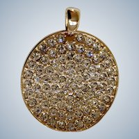 Beautiful Faux Diamond Sparkle Rhinestone Encrusted Gold-Tone Pendant