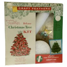 Mid-Century White Feather Deluxe Christmas Tree Kit with Pipe Cleaner Blue Angel New in Box Unused Fem Natural Fibre Craft Materials
