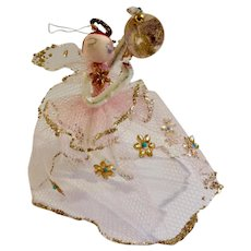 Mid-Century Pipe Cleaner Fairy Angel with Pink Tulle Netting Dress with Golden Flowers Christmas Tree Ornament