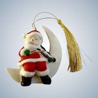 Vintage Santa Claus Sitting on White Moon Playing Drum Christmas Tree Ornament Porcelain Figurine