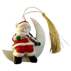 Vintage Santa Claus Sitting on White Moon Playing Drum Christmas Tree Ornament Porcelain Figurine