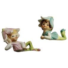 Inarco Daisy Hat Girl Bisque Figurines #F-301