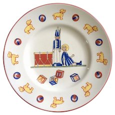 Tiffany Toys by Tiffany Co. Children's Plate with Tin Soldier, Girls Doll and Dogs