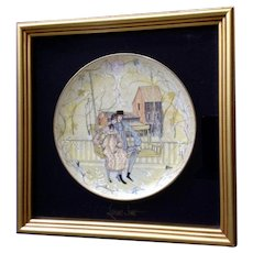P. Buckley Moss, Leisure Time, Amish Couple in Love Framed Collectors Plate Wall Decor Anna Perenna Germany