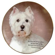 Beloved Westies West Highland White Terrier Puppy Dog Plate Eyes of Love Danbury Mint Collectors Limited Edition