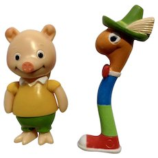 Richard Scarry Busytown Lowly Worm and Pig Will Anthropomorphic Animal Figurines HTF
