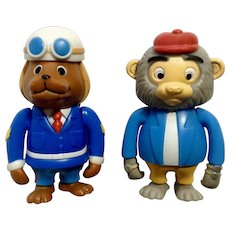 Richard Scarry Busytown Sergeant Murphy and Bananas Monkey Articulating Anthropomorphic Animal Figurines HTF