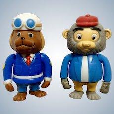 Richard Scarry Busytown Sergeant Murphy and Bananas Monkey Articulating Anthropomorphic Animal Figurines HTF