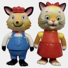 Richard Scarry Busytown Mr. Fix It Fox and Sally Kitty Cat Articulating Anthropomorphic Animal Figurines HTF