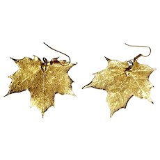 Sugar Maple Leaves Gold-Tone Fishhook Earrings for Pierced Ears