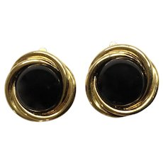 Vintage Gold-Tone Medallions with Black Centers Clip-on Earrings