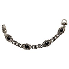 Silver-Tone and Black Faceted Beads Bracelet Costume Jewelry