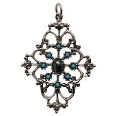 Silver-Tone Filigree with Aqua Blue and Metallic Beads Pendant Avon