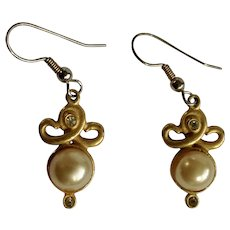 Vintage Gold-Tone, Rhinestone and Faux Pearl Fishhook Earrings for Pierced Ears
