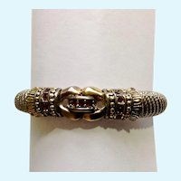 Silver-Tone and Gold-Tone Faux Ruby Bracelet 6-1/4""