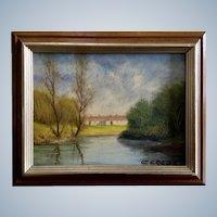 Antonio Cereda, Italian Villa Landscape Oil Painting on Board Signed by Listed Artist