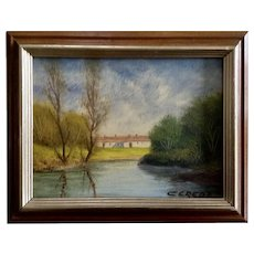 Antonio Cereda, Italian Villa Landscape Oil Painting on Board Signed by Listed Artist