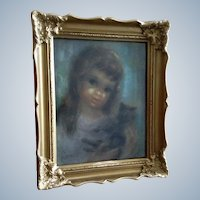 E Weir, Mi-Century Young Girl with Black Cat Pastel Drawing Signed by Artist