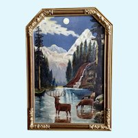 Deer Standing in Moonlit River Oil Painting Monogrammed by Artist EMS