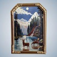 Deer Standing in Moonlit River Oil Painting Monogrammed by Artist EMS