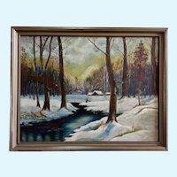 Leslie F. Schroeder, Snow Covered Landscape Oil Painting on Board 1936