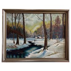 Leslie F. Schroeder, Snow Covered Landscape Oil Painting on Board 1936 Signed by Artist