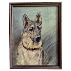 H Rogder, Portrait of a German Shepherd Dog, Oil Painting Signed by Artist