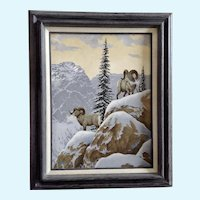 Joe L. Watkins, Bighorn Sheep on Mountainside Original Acrylic Painting