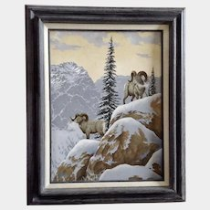 Joe L. Watkins, Bighorn Sheep on Mountainside Original Acrylic Painting on Canvas Signed by Listed Artist of the West