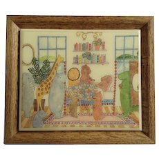 Anthropomorphic Animal's visiting a Friend in Bed after Operation 1970's Wood Framed Children's Art Tile By Susan Verble Gantner Kimberly Enterprises U.S.A.