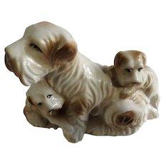 Mid-Century Mama Schnauzer Dog and Her Puppies Ceramic Japan Figurine