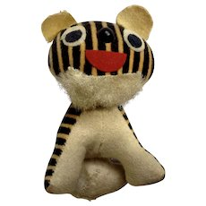 Vintage Striped Tiger Velveteen Stuffed Plush Animal Japan 1920's