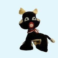 Vintage Black Cat Velveteen Stuffed Plush Animal Japan 1920's