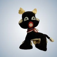 Vintage Black Cat Velveteen Stuffed Plush Animal Japan 1920's