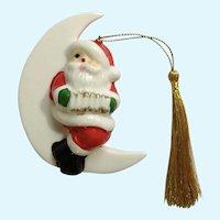Vintage Santa Claus Sitting on White Moon Playing Accordion Christmas Tree Ornament Porcelain Figurine