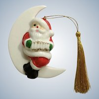 Vintage Santa Claus Sitting on White Moon Playing Accordion Christmas Tree Ornament Porcelain Figurine